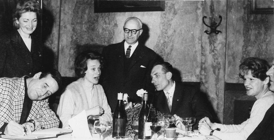 Armand Toupet le 25 mars 1963 avec le réalisateur Christian-Jaque et sa femme Laurence Christol