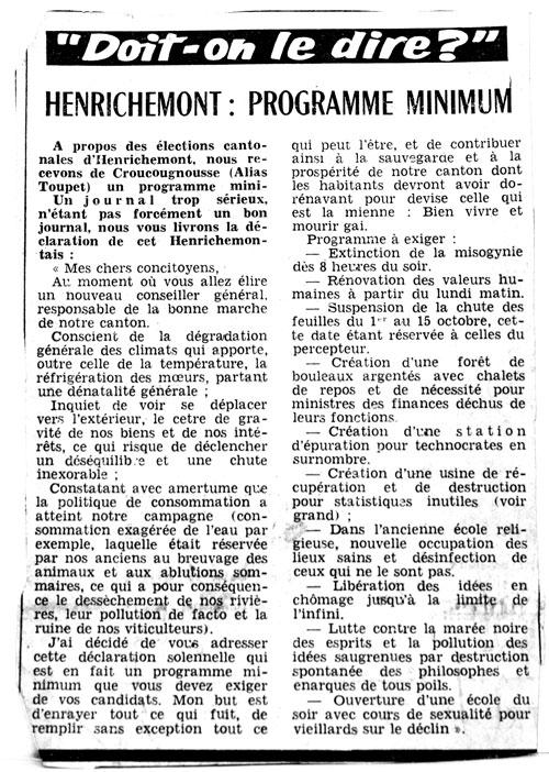 Armand Toupet s'amuse des élections cantonales - article 1976