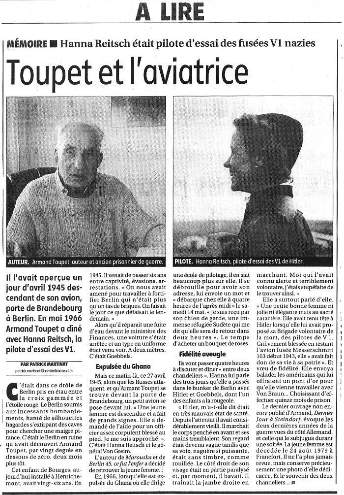 Hanna Reitsch à Armand Toupet