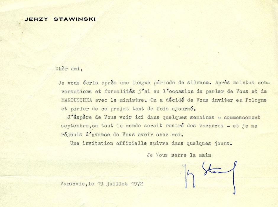 Lettre du réalisateur Jerzy Stefan Stawiński à Armand Toupet