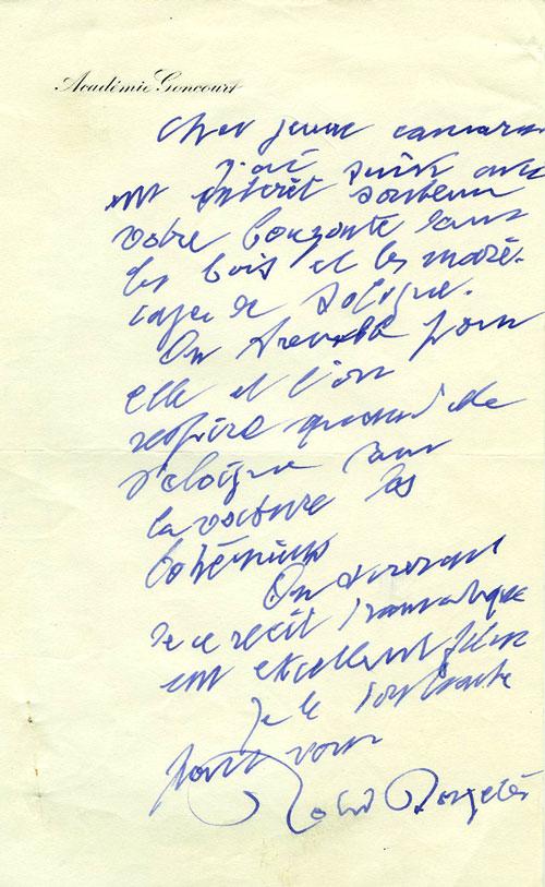 Lettre de Roland Dorgelès à Armand Toupet