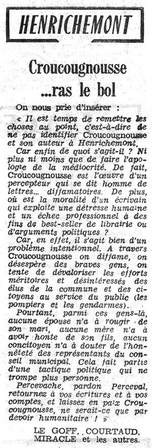 Réactions à Croucougnousse